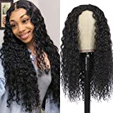 Brazilian Middle Part Lace Front Wig Human Hair 100% Real Remy Hair Wig For Black Women Long Black Deep Curly Wigs 14 inch (Natural Color)