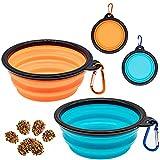 LONHCHI 2-teiliger Silikon-Faltnapf, tragbarer auslaufsicherer Napf für Katzen und Hunde zum Wassertrinken und Essen zu Hause oder auf Reisen (himmelblau / orange, 350 ml)