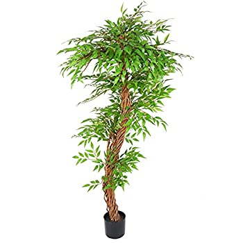 THE BLOOM TIMES 5.5ft Artificial Ficus Silk Tree in Plastic Pot Fake Faux Potted Plants with Natural Trunk for Living Room Home Indoor Decor 67inch Tall