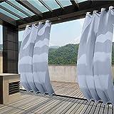 132x275cm Azul Cielo Cortinas para Exteriores con Ojales,Resistentes al Viento, Resistentes al Agua, Resistentes a la harina, para jardín, balcón, casa de Playa, vestíbulo, Cabana