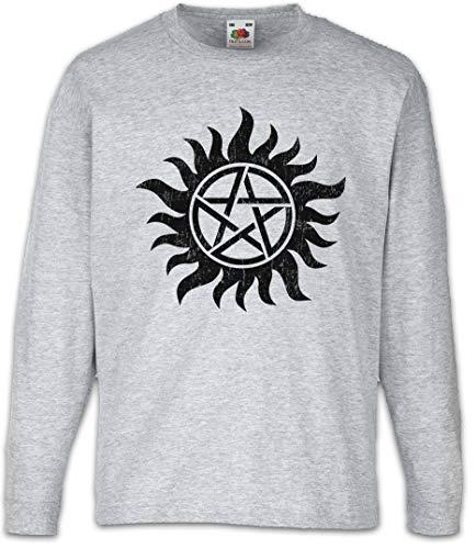Urban Backwoods Anti Possession Symbol Kinder Kids Mädchen Jungen Langarm T-Shirt Grau Größe 10 Jahre