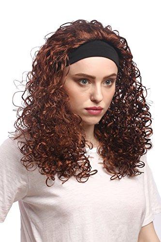 WIG ME UP - 90836-ZA33B Perücke Damen Karneval Fasching Stirnband Lang Volumen Locken Braun Karibik Latina 80er