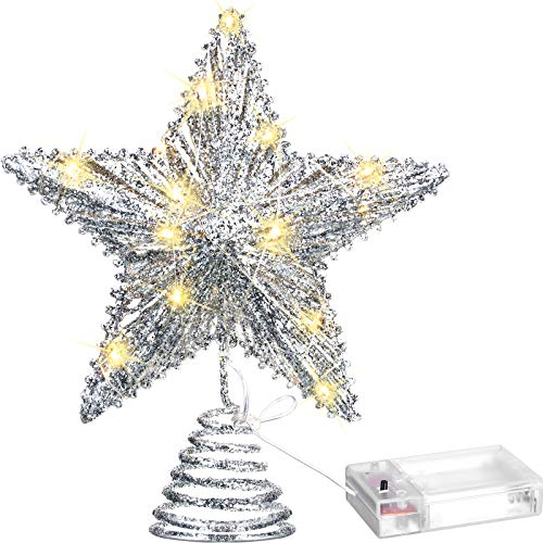 20 Licht 10 Zoll Weihnachten Baum Spitze LED Sternförmige Baum Spitze mit Warm Weißen LED Leuchten für Weihnachten Urlaub Saison Dekor (Silber)