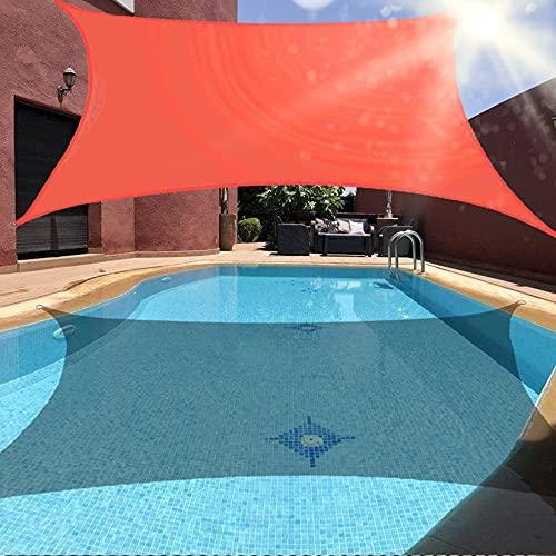 Toldo de vela rectangular 95% de bloqueo UV toldo de vela de protección solar resistente toldo de bloque UV Toldo de bloque UV con kit de herrajes para cochera de patio al aire libre roj