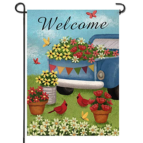 Artofy Home Decorative Welcome Garden Flag, Spring Summer House Yard Outdoor Small Flag Cardinal Birds Flower Sign Double Sided Vintage Truck, Rustic Outside Decorations Seasonal Decor Flag 12 x 18