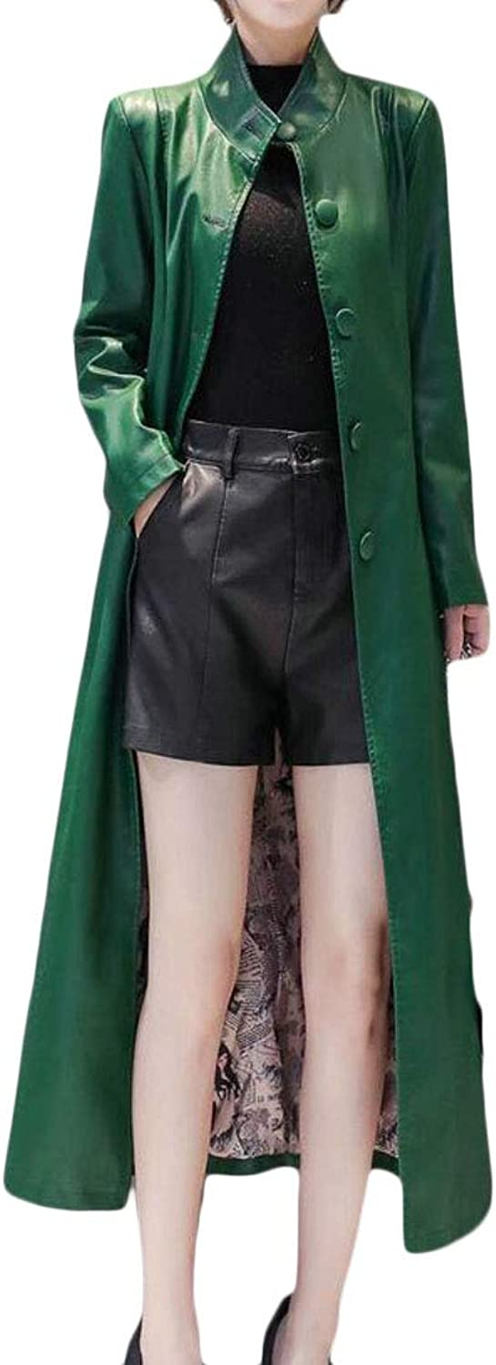MU2M Women Belted Overcoat Slim SingleBreasted Faux Leather Trench Coat