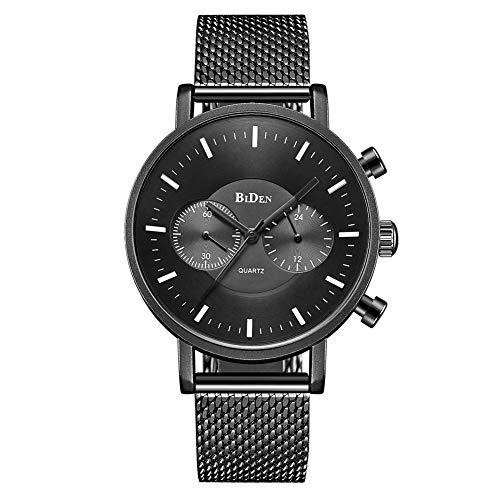 GJHBFUK Reloj de Hombre Moda Slim Men's Malla Banda Impermeable Reloj De Cuarzo Reloj Classic Black