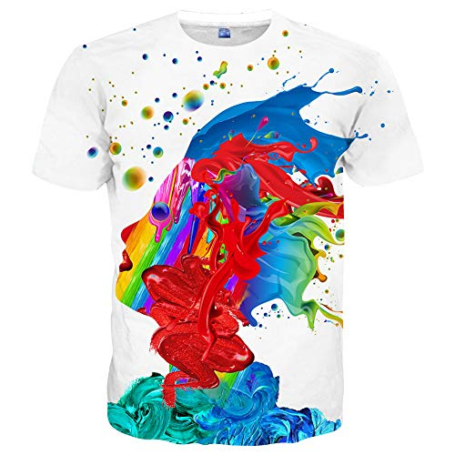 Hgvoetty Unisex 3D Printed Rainbow Watercolor Paint Short Sleeve T-Shirt XL,Style-white,