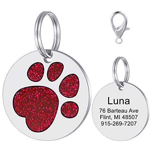 LAOKEAI Personalisierter Hunde Hundemarke mit eingraviertem Namen,Adresse und Telefonnummer Prickelnde Strass Haustier Marke aus Legierung für kleine und mittelgroße Hunde und Katzen(Rot)