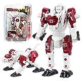 Sanggi 2 en 1 Robot Transformable, Robot en Alliage Transformers Jouet, Enfants Puzzle Robot Jouets pour 3-12 Âges (Rouge)