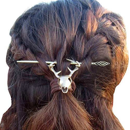 Viking Celtic Hair Clips Hairpin-Stag Skull Pin Hiar Sticks Wiccan Pagan Hair Accessories for Long Hair Decoration Slide Barrette Jewelry