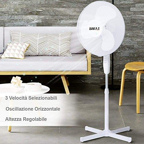 Ventilatore a Piantana Con 3 Velocita' 3 Pale 40 cm Ventilatore Da Terra Silenzioso Oscillante Altezza Regolabile 130 cm base a croce Bakaji