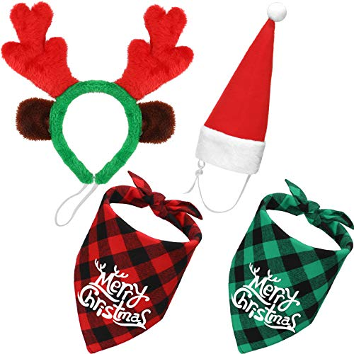 SATINIOR 4 Pieces Adjustable 3D Christmas Dog Santa Hat, Christmas Classic Buffalo Plaid Pets Scarf Triangle, Christmas Reindeer Antlers Headband with Ears Pet Costume Accessories for Dogs and Cats