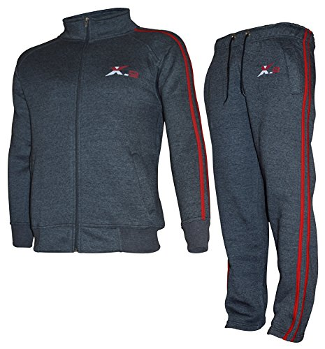 X-2 Mens Athletic Fleece Tracksuit Jogging Sweatsuit 2Red Pipe Char M