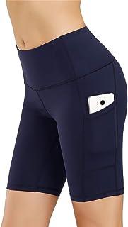 IceUnicorn Dam yogabyxor kort hög midja träning löparshorts magkontroll stretch mjuka leggings med sidoficka