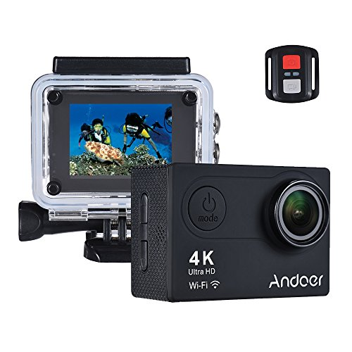 Andoer AN6000 4K 16MP WiFi Action Sports Camera Ultra HD Waterproof with Remote Control 12MP 170 Degree Wide Angle Lens Support