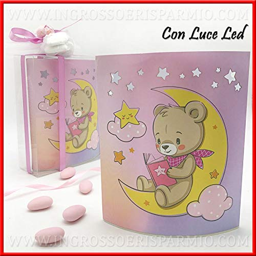 Ingrosso e Risparmio Lámpara LED nocturna de mesita de noche de cartón rosa con osito sobre luna, idea regalo para nacimiento, recuerdo de bautizo de niña, incluye caja de regalo (sin embalaje)