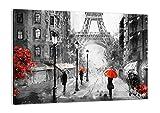 Cuadro sobre lienzo - Impresión de Imagen - Paris ciudad hogar - 70x50cm - Imagen Impresión - Cuadros Decoracion - Impresión en lienzo - Cuadros Modernos - Lienzo Decorativo - AA70x50-3942