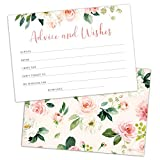 Set of 50 Advice and Wishes Cards - Double Sided Floral Cards, Perfect for the Bride and Groom, Baby Shower, Bridal Shower, Wedding Shower, Graduation Party, Retirement Party, Anniversary
