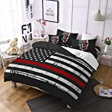 Jessy Home Duvet Cover Twin Size American Flag Bedding Red Black Gray Stripe Bed Set Flag Printed Bedding Patriot Independence Day Decor USA Flag Quilt Cover+1 American Flag Skull Pillowcases