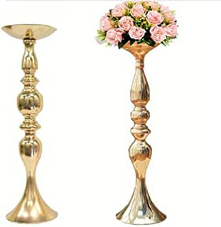 LANLONG 2pcs Gold Metal Candle Holders 50cm/20'' Stand Flowers Vase Candlestick As Road Lead Candelabra Centre Pieces Wedding Decoration (Gold, 19.6