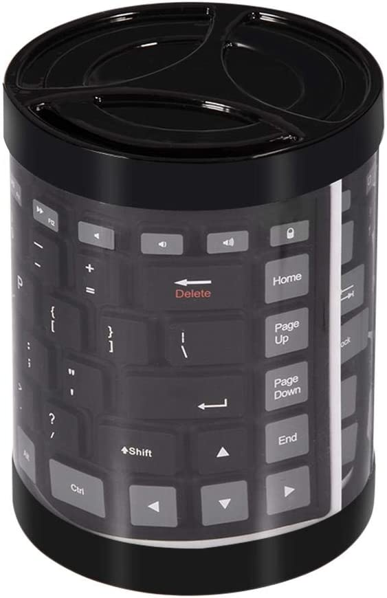 fosa Portable Waterproof Mini Wireless Bluetooth Keyboard Foldable for Laptop/PC/Phone(Black)