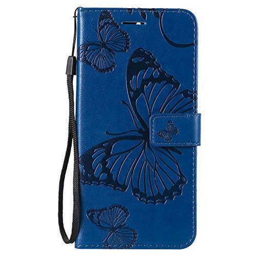 Coque pour Nokia 9 PureView Protection Housse en Cuir PU Pochette,[Emplacements Cartes],[Fonction Support],[Languette Magnétique] pour Nokia 9 PureView - DEKT041904 Bleu