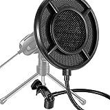 YuKeShop Micrófono de estudio profesional Pop Filter Mic Wind Screen Shield Cubierta para grabación de voz