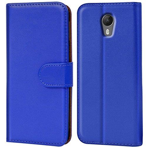 Verco Jerry 2 Hülle, Handyhülle für Wiko Jerry 2 Tasche PU Leder Flip Case Brieftasche - Blau
