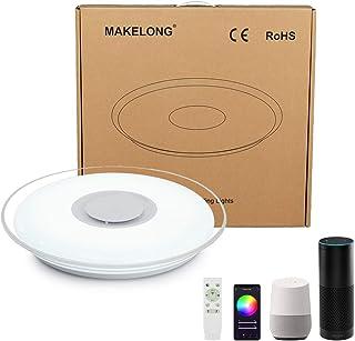 comprar comparacion MAKELONG Iluminación de techo de interior,Plafonnier Plafón LED Lámpara de Techo con Altavoz Bluetooth,Control WIFI,Compat...