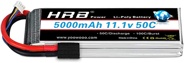 HRB 11.1V 5000mAh 3S 50C-100C LiPo Battery with Traxxas TRX Plug for RC DJI F450 Quadcopter RC Helicopter Airplane Hobby Drone and FPV