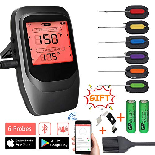 VISTION Bluetooth Kochthermometer Cooking Thermometer + 6 Probes schwarz