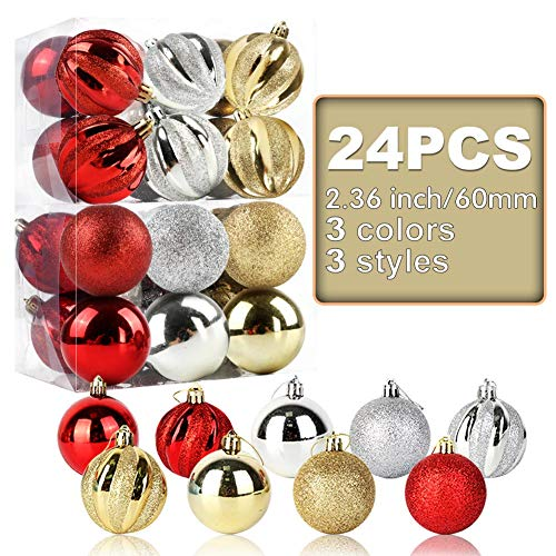 OurWarm 24pcs 2.36' Assorted Christmas Ball Ornaments Shatterproof Christmas Decorations Tree Balls for Holiday Xmas Tree Decorations, Tree Ornaments Hooks Included (Gold/Red/Silver)