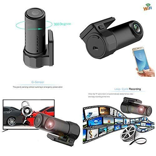 Businda Dash Cam WiFi 1080p, 360 Degree Max Turning 170 Degree Wide Angle Lens WDR G Sensor Car Driving Recorder Loop Recording