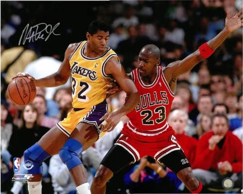 Magic Johnson Autographed LA Lakers 16x20 #3 Photo Max 73% OFF - Michael NEW vs.