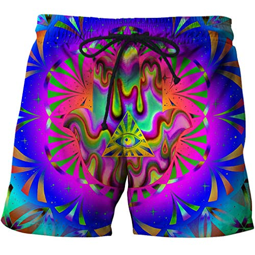 Men's Swim Trunks 3D Casual Fashion Mens Quick Dry Swim Trunks with Pockets 3D Creative Printed Eye of Providence Colorful Doodle Summer Comfy Personality Beach Board Shorts Drawstring Quick Dry Beach
