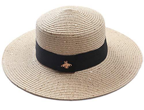 Dielay Damen Hut Glitzer Biene Sommerhut Sonnenhut Länge 37 cm (Khaki)