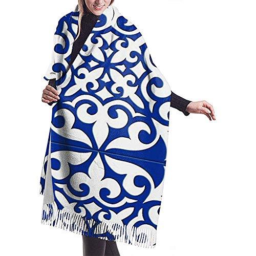 Niet toepassbare Marokkaanse tegel kobaltblauw imiteren kasjmier gevoel wintersjaal Pashmina sjaal wraps zachte warme deken sjaals elegante wikkeling voor vrouwen 27 x 78 inch