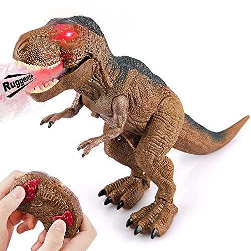 Baztoy Dinosauro Telecomandato Giocattolo - Giochi Animali T Rex Drago Gadget con funzione Spruzzare e Suoni per Bambini Educativi Compleanno Natale Regali Ragazzi Ragazze 3 4 5 6 7 8 9 10 11 12 Anni