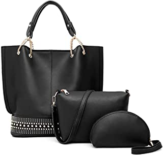 Lysal Women's Tote Handbag Shoulder Handbag Satchel Handbag Top-Handle Crossbody Handbag Clutch Bag Purse Set 3Pcs