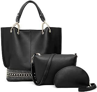 Lysal Women's Tote Handbag Shoulder Handbag Satchel Handbag Top-Handle Crossbody Handbag Clutch Bag Purse Set 3Pcs