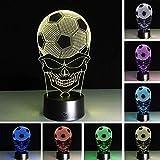 Color fútbol calavera mesa fiesta futbolín niños iluminación luz de noche 3D lámpara de noche lámpara de noche