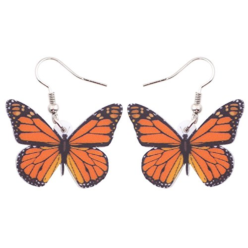 Bonsny Drop Dangle Big Monarch Butterfly Earrings Fashion Insect Jewelry For Women Girls Teens Gifts