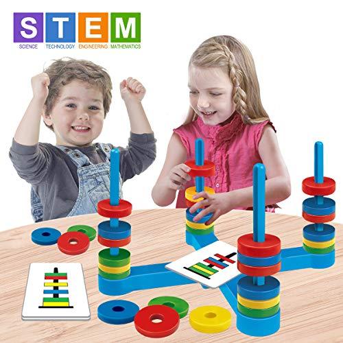 GIOBABY Spielzeug Magnetisches Spiel Set, Familien Brettspiel mit Farbkarte und Magnetisches Ring, Spaß Match Lernspielzeug Geschenke für Kinder Junge Mädchen