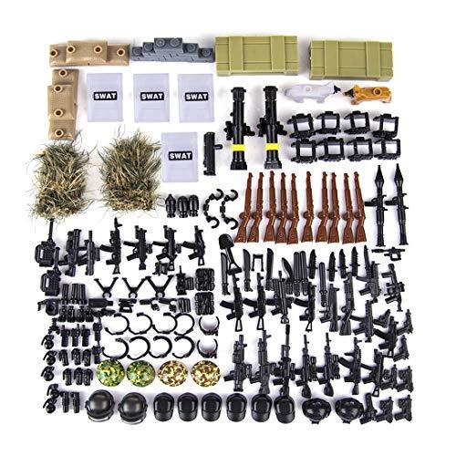 OviTop Millitärspielzeug Helm und Waffe Set für für Soldaten Minifiguren SWAT Polizei, Kompatibel mit Lego Figuren