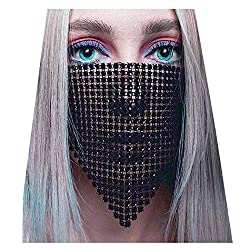 Black Sparkly Rhinestone Masquerade Ball Mesh Face Mask