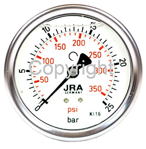 "JRA-Longlife Glyzerin Manometer 0-25 bar/psi NG63 Anschluss hinten 1/4"""