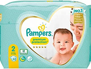 Pampers Premium Protection - Pañales (talla 2, 32 pañales
