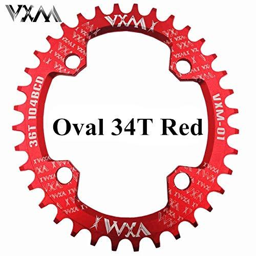 GHMOZ Deporte al Aire Libre VXM MTB Oval Conjunto de Platos y bielas Elipse Placa 104BCD 32T 34T 36T 38T Ciclismo Chainring Estrecho Ancho Ultraligero Parte de Bicicletas (Color : VXM Red Oval 34T)