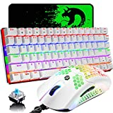 Gaming Keyboard and Mouse,3 in 1 Gaming Set,Rainbow LED Backlit Wired Gaming Keyboard,RGB Backlit 12000 DPI Lightweight Gaming Mouse with Honeycomb Shell,Large Mouse Pad for PC Game(White)